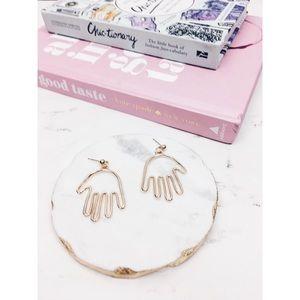 Amelia   Gold Hand Hamsa Style Minimalist Earrings
